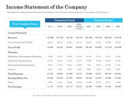 Income Statement Of The Company Ppt Portfolio Layout Ideas
