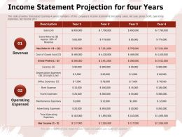 Income Statement Projection For Four Years Operating Ppt Powerpoint Presentation Icon Show