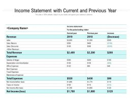Income Statement With Current And Previous Year