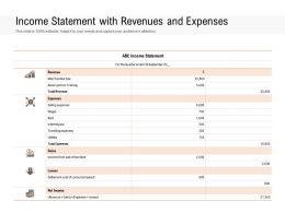 Income Statement With Revenues And Expenses