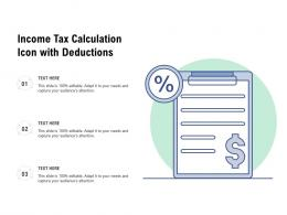 Income Tax Calculation Icon With Deductions