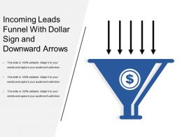 Incoming Leads Funnel With Dollar Sign And Downward Arrows