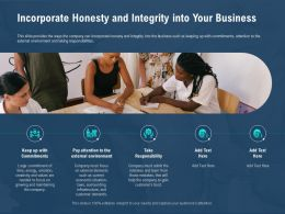 Incorporate Honesty And Integrity Into Your Business And Learn Ppt Powerpoint Presentation Visual Aids