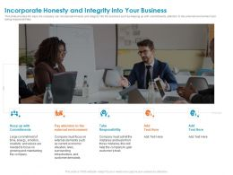 Incorporate Honesty And Integrity Into Your Business Energy Ppt Powerpoint Presentation Icon Aids