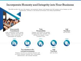 Incorporate Honesty And Integrity Into Your Business Ppt Design Inspiration