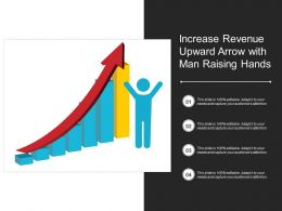 Increase Revenue Upward Arrow With Man Raising Hands