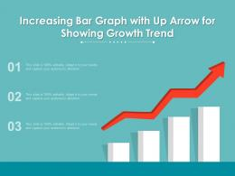 Increasing Bar Graph With Up Arrow For Showing Growth Trend