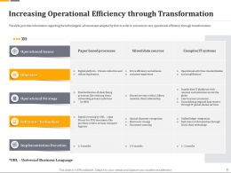 Increasing Operational Efficiency Through Transformation Ppt Infographics