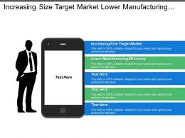 Increasing Size Target Market Lower Manufacturing Efficiency Low Profitability