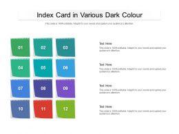 Index Card In Various Dark Colour