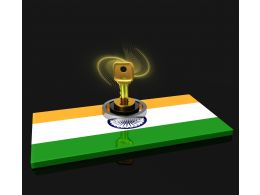 Indian Flag With Lock Shows Security Concept Stock Photo