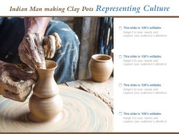 Indian Man Making Clay Pots Representing Culture