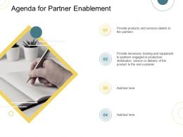 Indirect Go To Market Strategy Agenda For Partner Enablement Ppt Pictures Icon