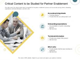 Indirect Go To Market Strategy Critical Content To Be Studied For Partner Enablement Ppt File Structure