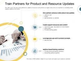 Indirect Go To Market Strategy Train Partners For Product And Resource Updates Ppt Infographics Graphic Images