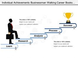 Individual Achievements Businessman Walking Career Books Ladder