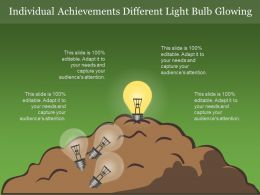 Individual Achievements Different Light Bulb Glowing