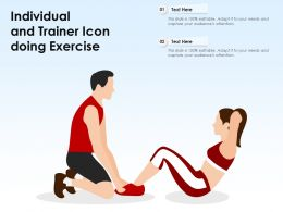 Individual And Trainer Icon Doing Exercise