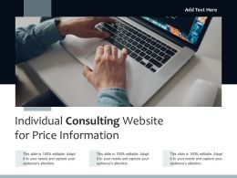 Individual Consulting Website For Price Information