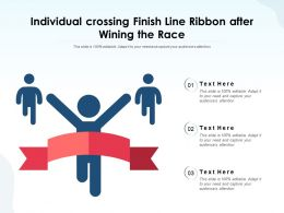 Individual Crossing Finish Line Ribbon After Wining The Race