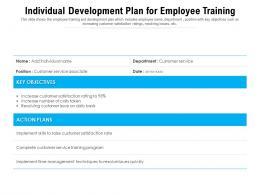 Individual Development Plan For Employee Training