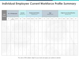 Individual Employee Current Workforce Profile Summary Gender Ppt Powerpoint Presentation Infographic