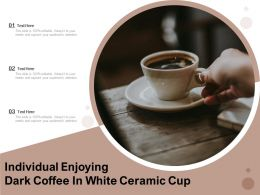 Individual Enjoying Dark Coffee In White Ceramic Cup