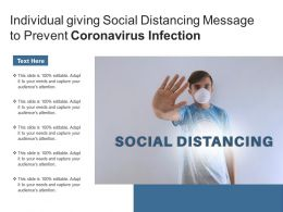 Individual Giving Social Distancing Message To Prevent Coronavirus Infection