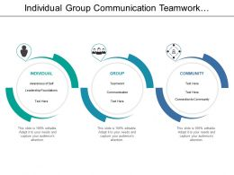 Individual Group Communication Teamwork Leadership Model With Icons