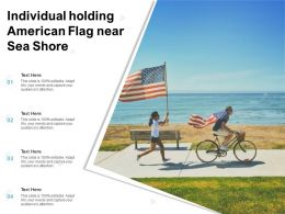 Individual Holding American Flag Near Sea Shore