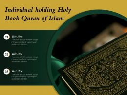 Individual Holding Holy Book Quran Of Islam