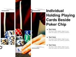 Individual Holding Playing Cards Beside Poker Chip