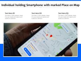Individual Holding Smartphone With Marked Place On Map