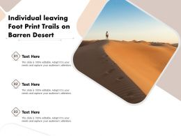 Individual Leaving Foot Print Trails On Barren Desert