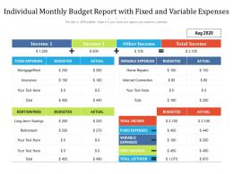 Individual Monthly Budget Report With Fixed And Variable Expenses