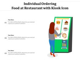 Individual Ordering Food At Restaurant With Kiosk Icon