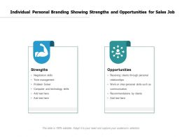 Individual Personal Branding Showing Strengths And Opportunities For Sales Job
