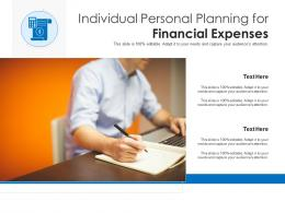 Individual Personal Planning For Financial Expenses
