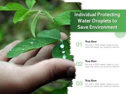 Individual Protecting Water Droplets To Save Environment