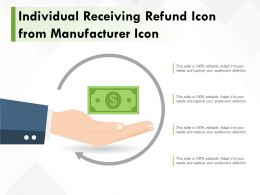 Individual Receiving Refund Icon From Manufacturer Icon