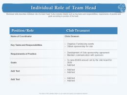 Individual Role Of Team Head For Club Ppt Powerpoint Presentation Styles Show