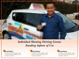 Individual Showing Driving License Standing Infront Of Car