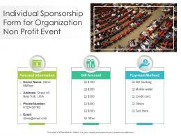 Individual Sponsorship Form For Organization Non Profit Event