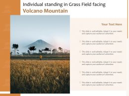 Individual Standing In Grass Field Facing Volcano Mountain