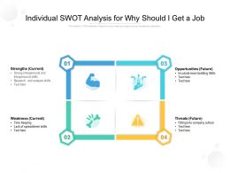 Individual SWOT Analysis For Why Should I Get A Job