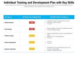 Individual Training And Development Plan With Key Skills