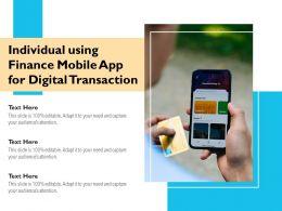 Individual Using Finance Mobile App For Digital Transaction