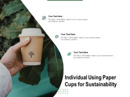 Individual Using Paper Cups For Sustainability