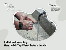 Individual Washing Hand With Tap Water Before Lunch