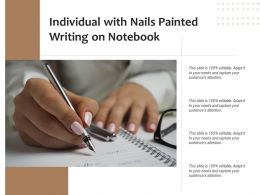 Individual With Nails Painted Writing On Notebook